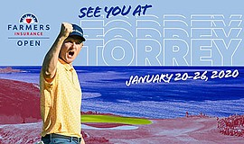 Promotional graphic for the Farmers Insurance Open 2020, ...