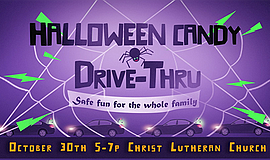 Promotional graphic for the Halloween Candy Drive-Thru. C...