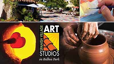 Promotional graphic for Spanish Village Art Center reopen...
