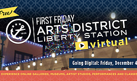 Promo graphic for Arts District Liberty Station Virtual...