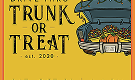 Promotional graphic for the Drive-Thru Trunk-or-Treat hos...