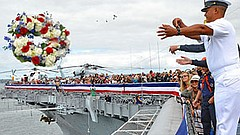Photo of Memorial Day Wreath Ceremony. Courtesy of USS Midway Museum