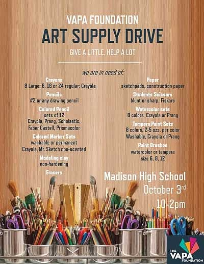 Promotional graphic for the art supply drive courtesy of ...
