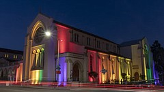 Promotional photo of cathedral lit up with rainbow lights. Courtesy of San Di...