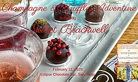 Promotional graphic for Champagne and Truffles event. Cou...