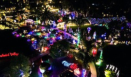 Promotional photo of the Enchanted Village from above. Co...