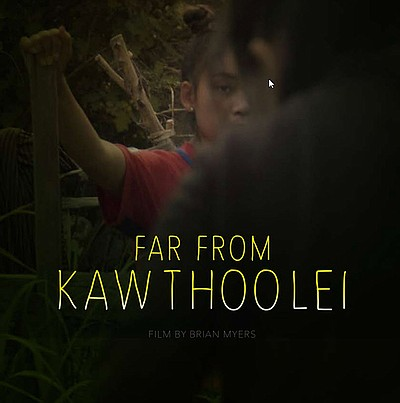 Promotional graphic for the documentary 'Far From Kawthoo...