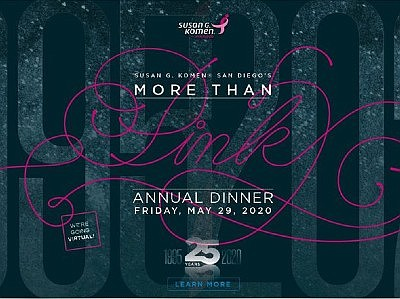Promotional graphic for More Than Pink virtual dinner. Co...