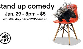 Promotional graphic for Stand-up Comedy @Whistle Stop Bar...