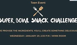 Promotional graphic for Superbowl Snack Challenge. Courte...
