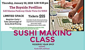 Promo graphic for Sushi Making Class