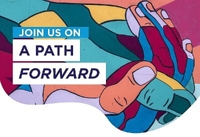 Promotional graphic for A Path Forward virtual event. Cou...