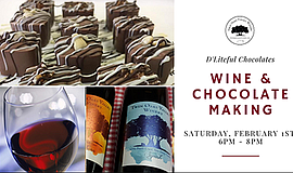 Promotional graphic for Wine & Chocolate Making event. Co...
