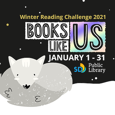 "Promotional graphic for ""Winter Reading Challenge 2021"". ..."