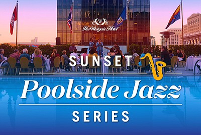 Graphic for the Sunset Poolside Jazz Series at The Westga...