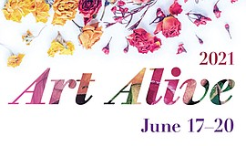 Promotional graphic for Art Alive 2021 presented by The S...