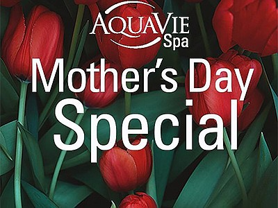 Promotional graphic for Mother's Day Spa Special at AquaV...