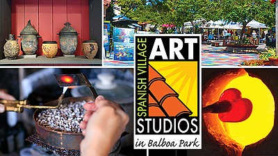 Promotional graphic for Spanish Village Art Center in Bal...