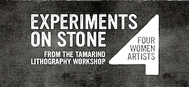 Promo graphic for 'Experiments On Stone: Four Women Art...
