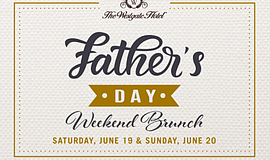 'Father's Day Weekend Brunch' promotional graphic, courte...