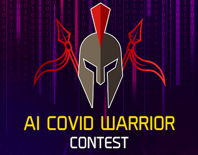 Promotional graphic for A.I. COVID-19 Warrior Contest, co...