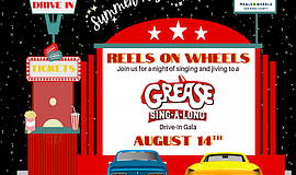"""promotional graphic for """"Reels On Wheels"""" Drive-In Gala, ..."""