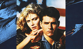 """Promotional graphic for the movie poster of """"Top Gun."""" Co..."""