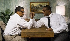 Promotional photo: Malcolm X (Rhys Greene) and Dr. King  ...