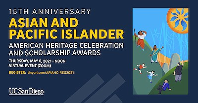 """Promotional graphic for """"UC San Diego's 15th Anniversary ..."""