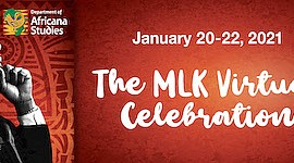 """Promotional graphic for """"The MLK Virtual Celebration"""". Co..."""