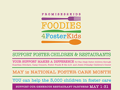 Promotional graphic for Foodies 4 Foster Kids