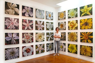 """Photograph of Gail Roberts with """"Color Field"""" in her stud..."""
