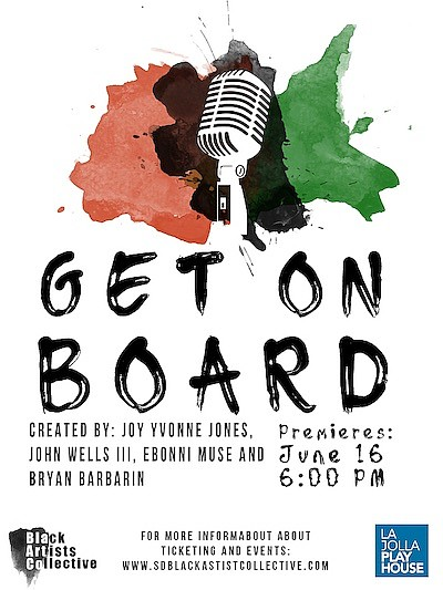 """Promotional graphic for """"Get on Board."""" Courtesy of SD Bl..."""