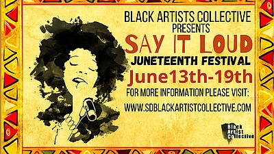 Promotional graphic for Say It Loud Juneteenth Festival c...