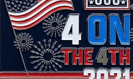 """Promotional graphic for """"USO Four On The 4th Virtual Race..."""