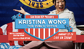 """Promotional graphic for """"Kristina Wong For Public Office""""..."""