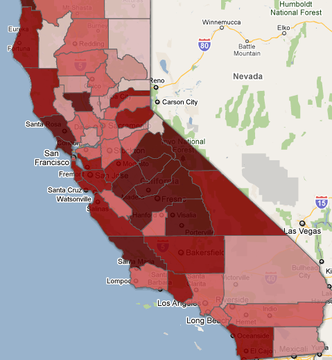 Whooping Cough In California By County