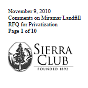 SC Letter To City On Miramar Landfill
