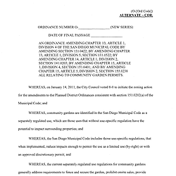 City of San Diego Regulations for Community Gardens