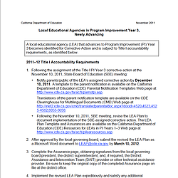 Program Improvement Year Three Requirements
