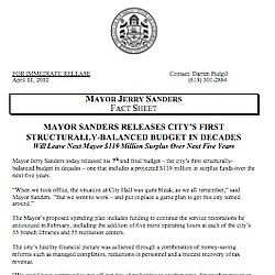 Mayor Sanders' Budget Fact Sheet