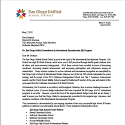 San Diego Unified Letter to International Baccalaureate US Director