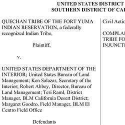 Read The Complaint Filed By The Quechan Tribe
