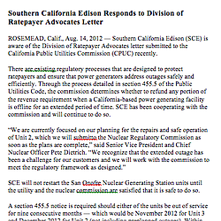Southern California Edison Responds to Division of Ratepayer Advocates Letter