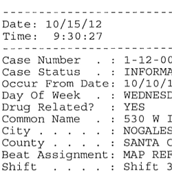 Nogales Police Department Offense Report - Oct. 10, 2012
