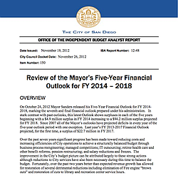 Review of Mayor's Five-Year Financial Outlook for FY 2014-2018