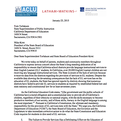 ACLU Letter To Superintendent of Public Instruction