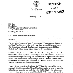 Mayor Filner's Letter to the SDCCC