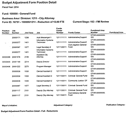 Budget Adjustment Form Position Detail