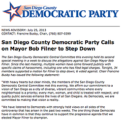 San Diego Democrats Call On Filner To Resign